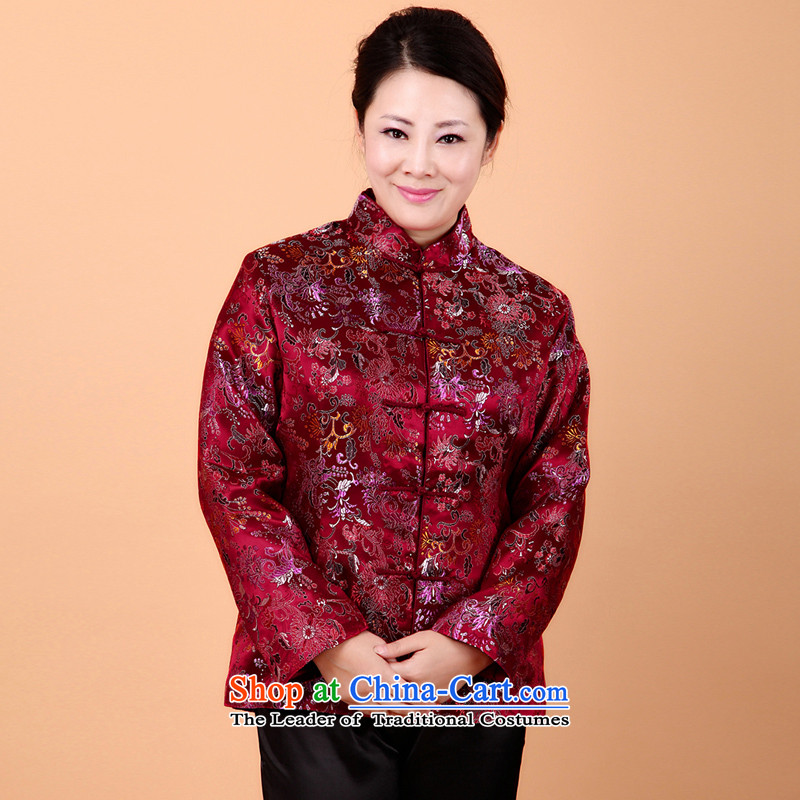 The Cave of the Tang Dynasty Chinese women elderly long-sleeved T-shirt in autumn and winter older mother replacing stamp short of cotton jacket聽N104 folder聽Red聽4XL