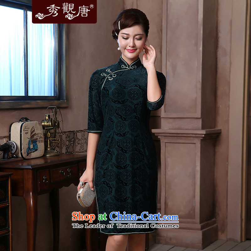 [Sau Kwun Tong] Pik-yun spring in�2014 new cuff qipao retro in long skirt QZ4812 mother dress dark green�XXL