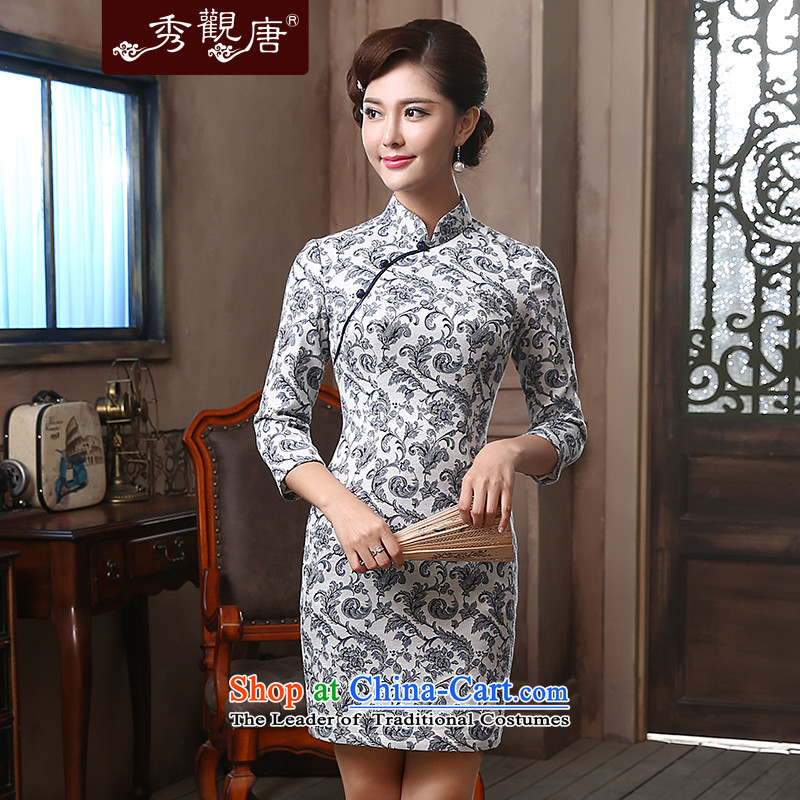 [Sau Kwun Tong] air Yu Chun in long-sleeved improved qipao?2015 new antique dresses QZ4816 Sau San Blue and White?XXL