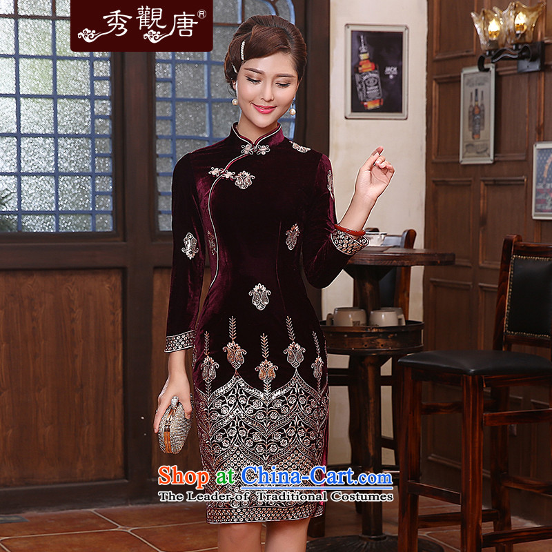 -Sau Kwun Tong- Golden silky noble scouring pads qipao spring 2015 in New long-sleeved gown skirt QC4818 Nouveau wine red L