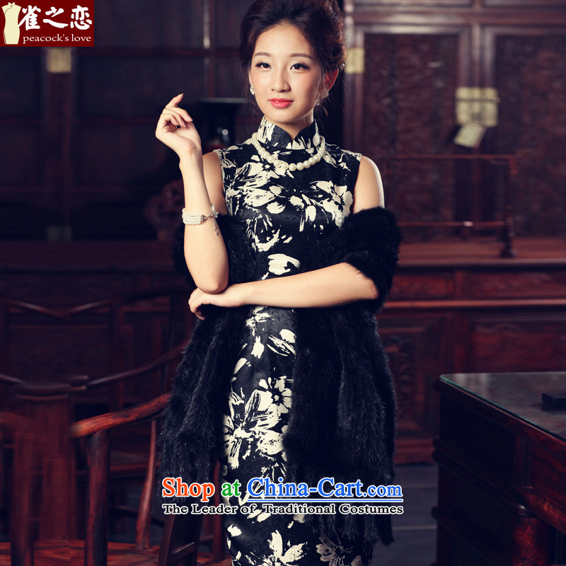Love of birds night drunken Fong Yim?Spring 2015 new stylish Retro classic short sleeveless Silk Cheongsam?QD538?figure?XXL
