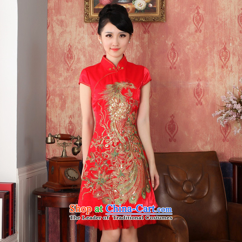 The 2014 autumn new boxed retro wedding dress red qipao female Phoenix embroidery cheongsam Phoenix cheongsam bows service燬