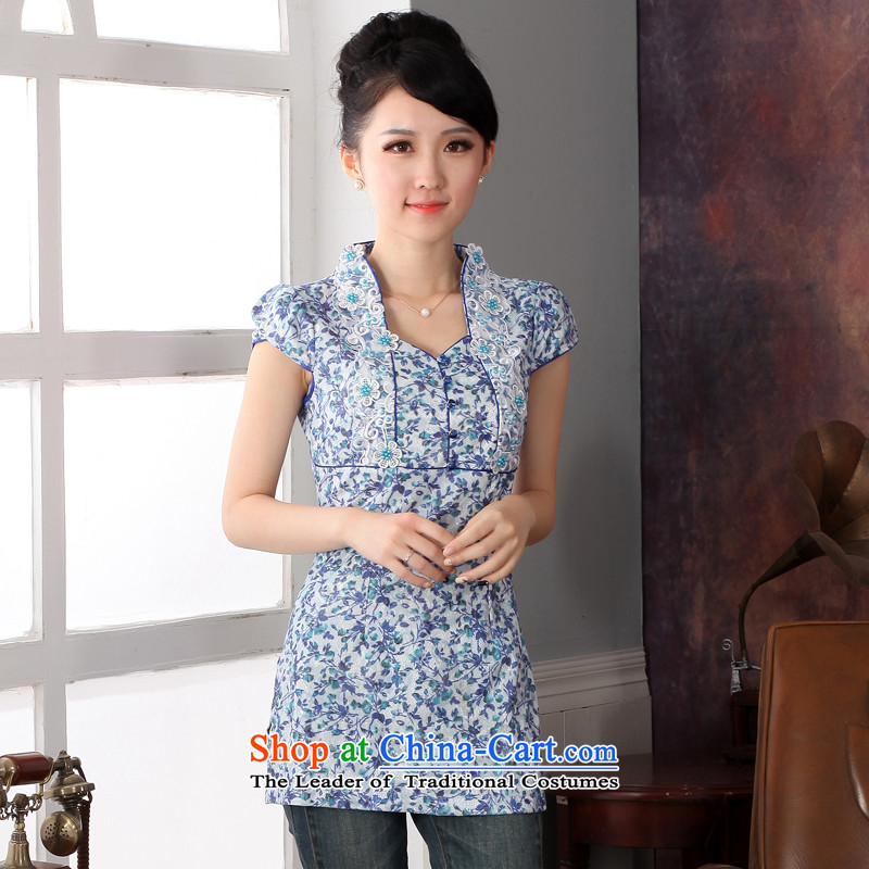 Oriental aristocratic counters genuine 2015 Spring_Summer New Tang blouses, Chinese ethnic improved saika package shoulder cheongsam T-shirt and elegant燲XL