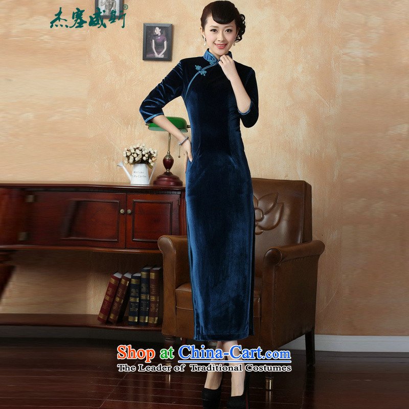 In the new kit, replacing the solid color manually autumn tray clip collar Superior elasticity Kim long qipao?T0001 scouring pads?in Tsing?XXXL