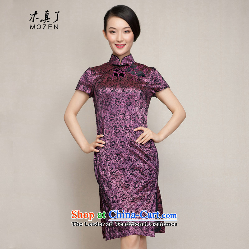 The spring of 2015 really   New improved cheongsam dress half sleeve winter cheongsam dress 11474 17 purple flowers燲XXL bottom black