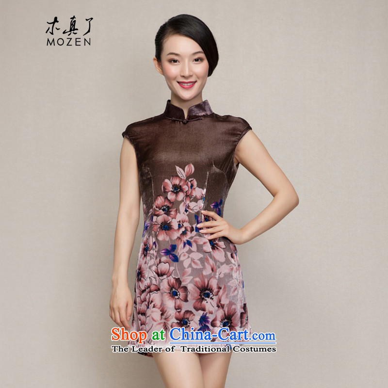 Winter dresses wood really new spring of 2015 Poster cheongsam dress velvet silk skirt 21818 Female 09 coffee-colored�L