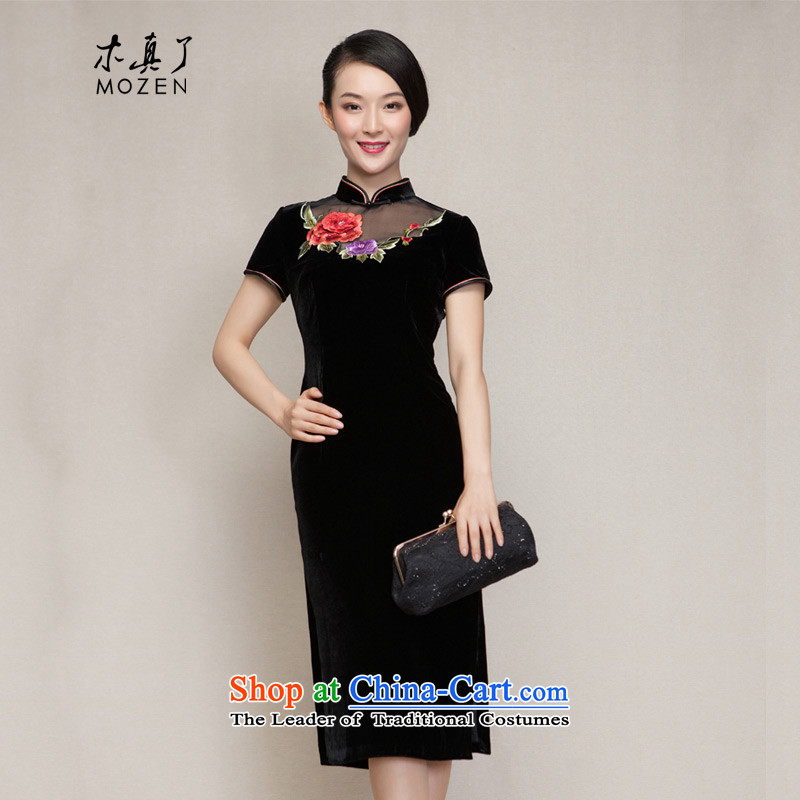 The spring of 2015 really : The new improved cheongsam dress embroidered stylish and elegant qipao gown 22245 01 black?Xxl(a)