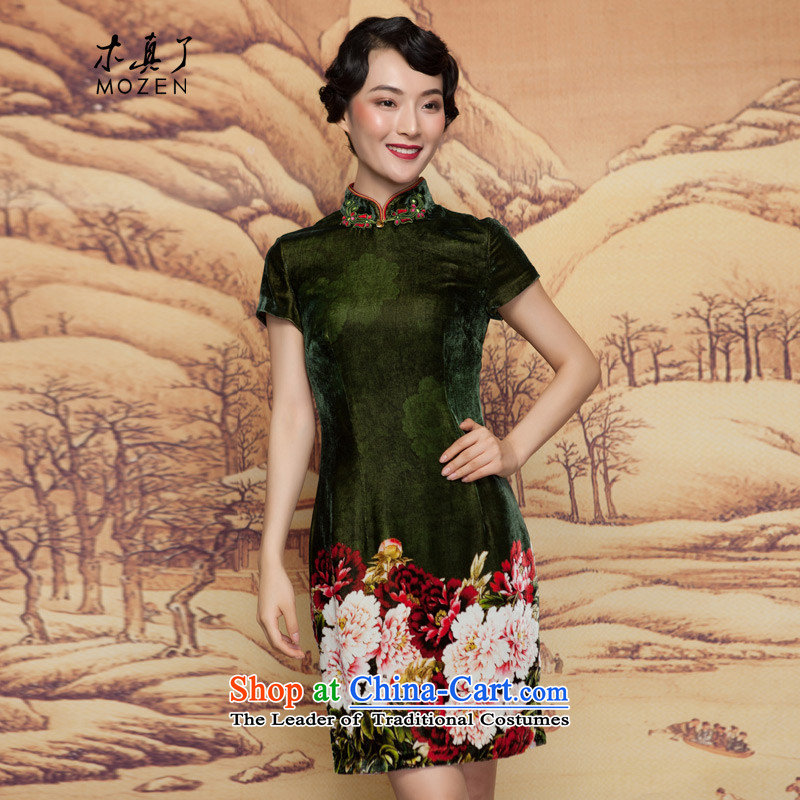 The spring of 2015 really   new plush poster green silk cheongsam dress Mudan elegant improved dress 11660 14 emerald- L