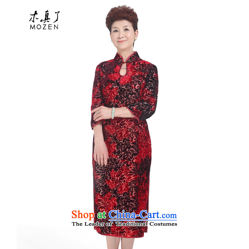 The spring of 2015 really : new long-sleeved really cheongsam wedding mother velvet gown�22010 04 deep red�XXL