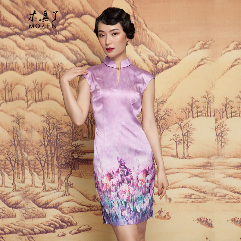 The spring of 2015 really   New positioning spend a short skirt elegant qipao cheongsam dress 42841 17 light purple XL