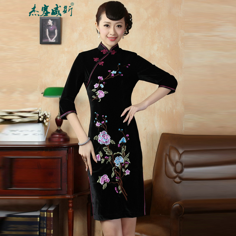 In the new kit, replacing the elegant hand disk fall arrest collar Stretch Wool embroidery qipao Kim Tang dynasty dresses燭D0010燽lack燤