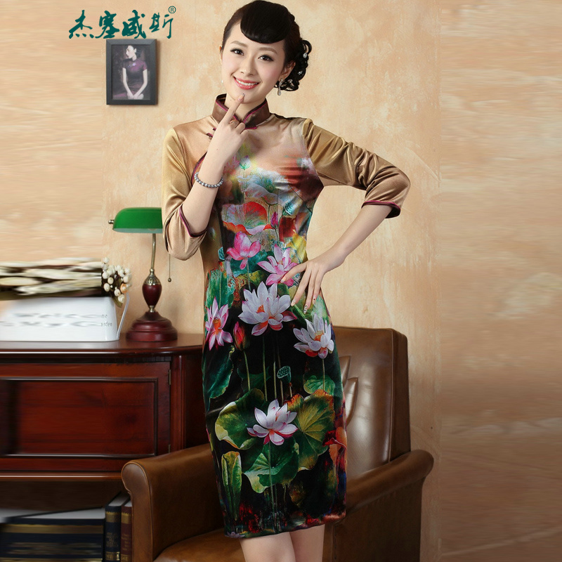 In the new kit, replacing the elastic Kim Choo-cashmere collar snap up manually poster classic elegant qipao Tang dynasty dresses TD0009 figure XL