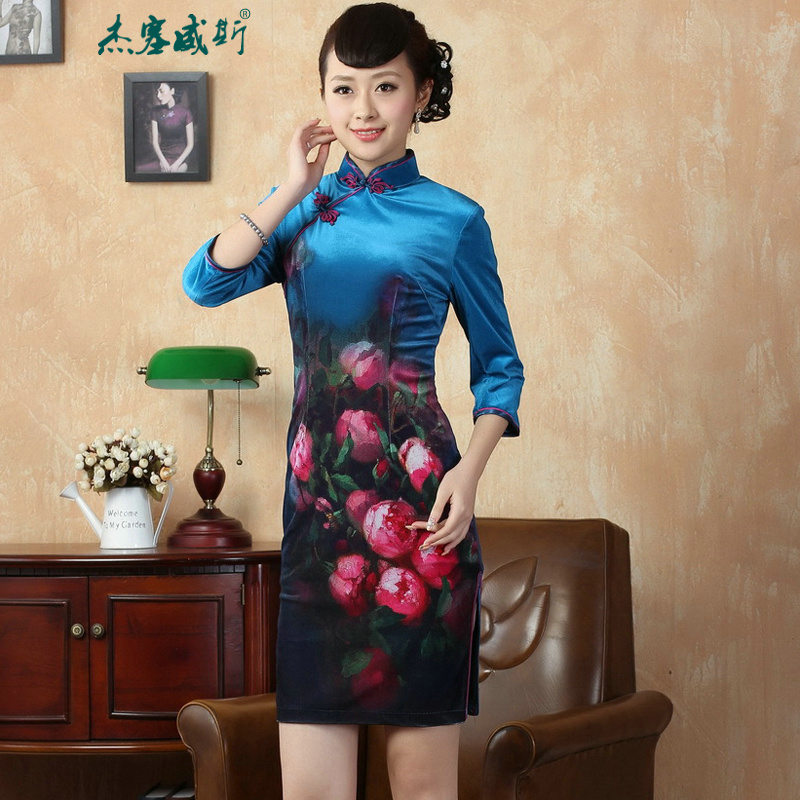 In the new Jie) Hand-held autumn collar Stretch Wool poster elegant gold classic Tang dynasty cheongsam dress�TD0004�Doha Tsing�XL