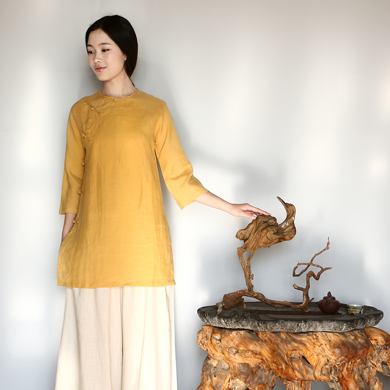 Pure Chinese shirt with retro improved cuff manually drive port Zen Chinese Tang dynasty improved turmeric yellow?M
