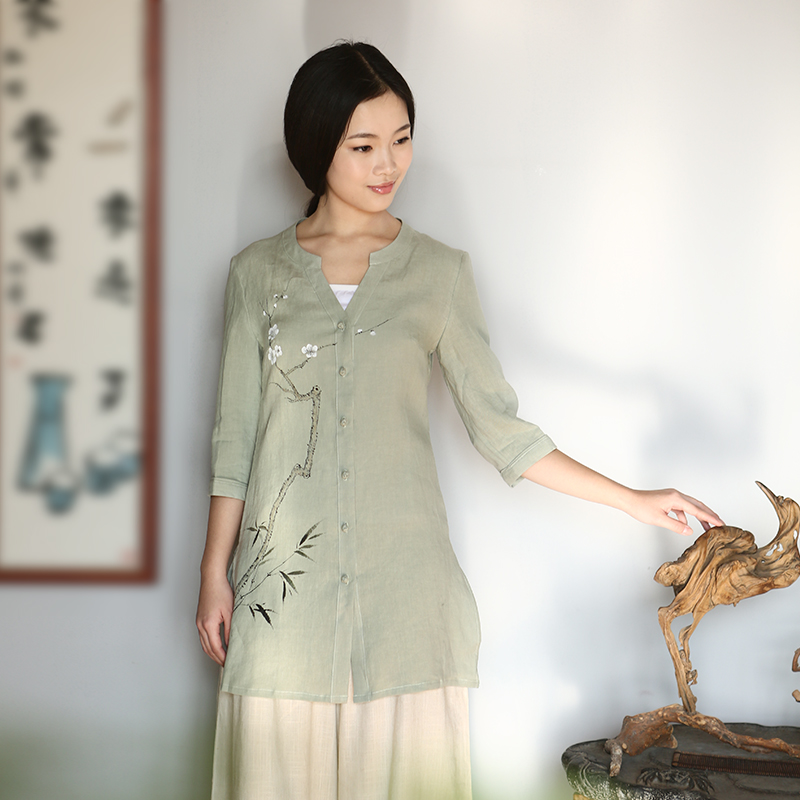 Pure linen Cardigan Chinese cotton linen clothes Zen Art Nouveau hand painted improved China Wind Jacket beans Chinese Green�M
