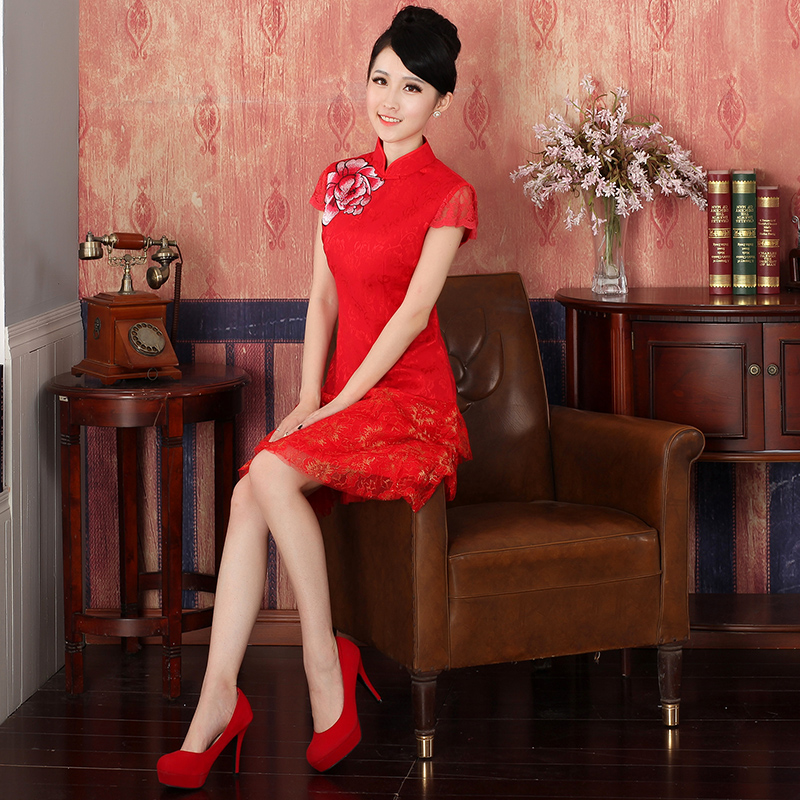 Load the new 2015 Autumn bride with Chinese cheongsam dress marriage red bows to sepia embroidery dresses?324146 red?L