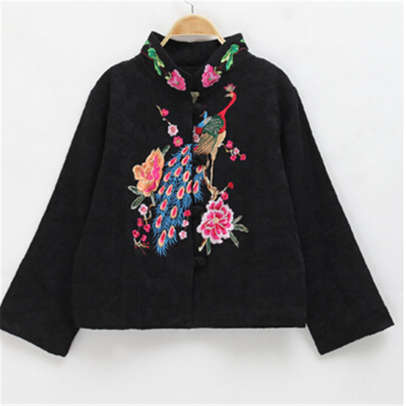 Shadows of the treasure of the 2014 autumn and winter new Chinese Tang dynasty Han-National wind jacket women cheongsam short peacock embroidery black L