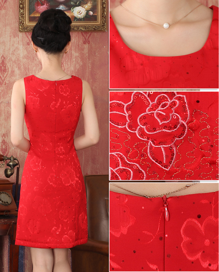 2015 Fall/Winter Collections new cashmere cotton bride red Chinese cheongsam dress toasting champagne marriage service pack334705