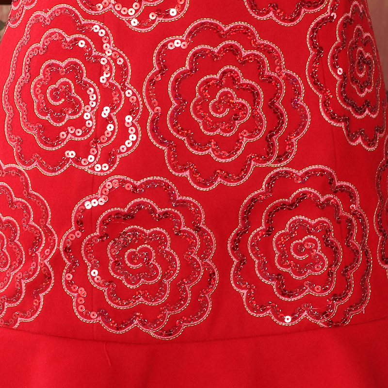 2015 Fall/Winter Collections new cashmere cotton bride red Chinese cheongsam dress toasting champagne marriage service pack334705   red retro redS, oriental aristocratic shopping on the Internet has been pressed.