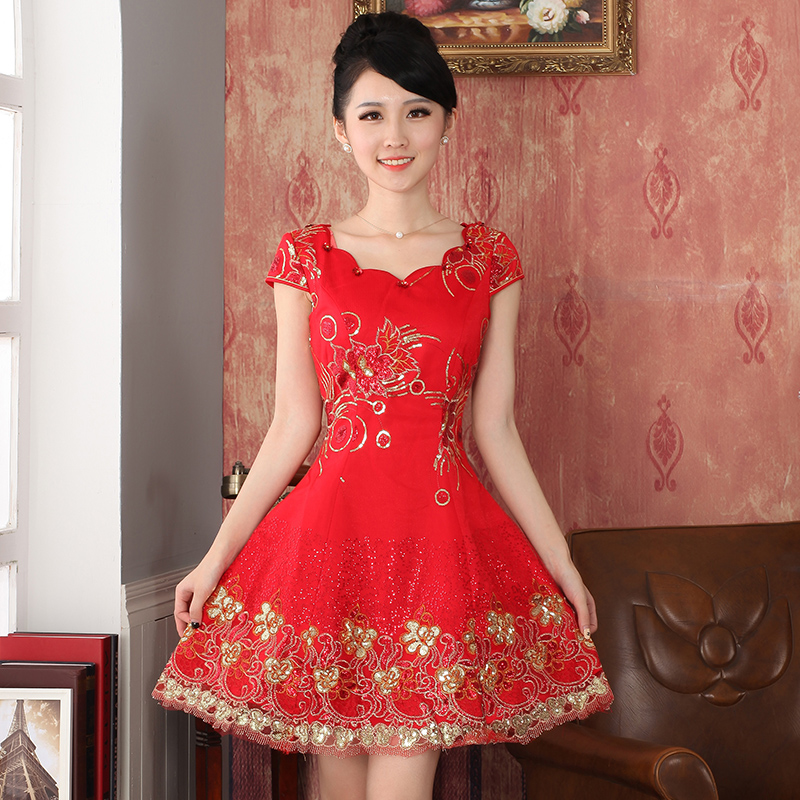 Counters genuine 2014 Autumn New_ red lace cheongsam wedding dress bride with a drink served Chinese antique dresses package 324701 Email Red M