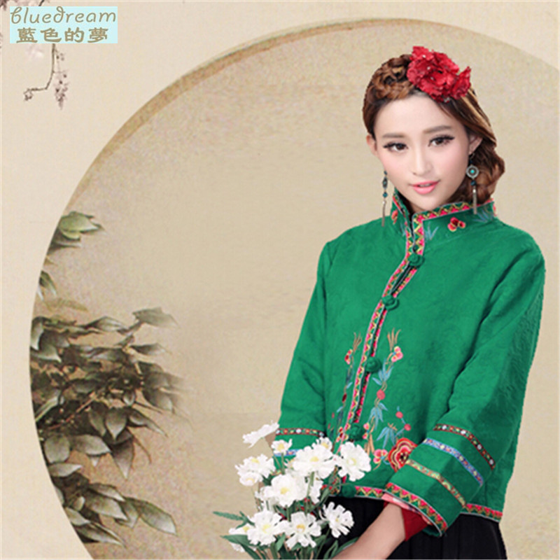 The blue dream 2015 autumn and winter Tang Dynasty Chinese national autumn wind retro look large embroidered dress jacket short green?M