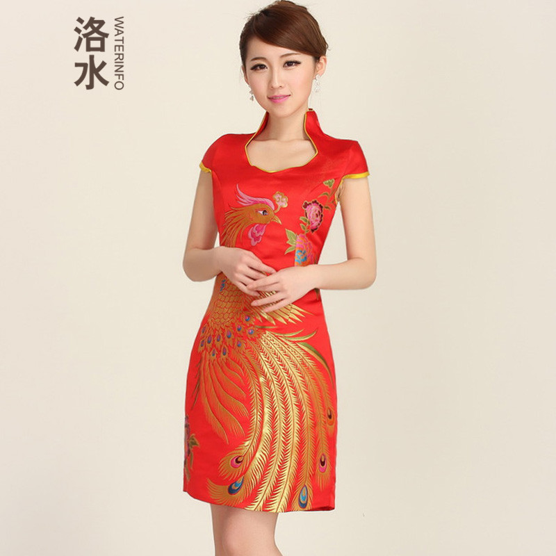 The water fall new marriages bows dress back to door onto new stylish cheongsam dress short of improved cheongsam dress red red XXL