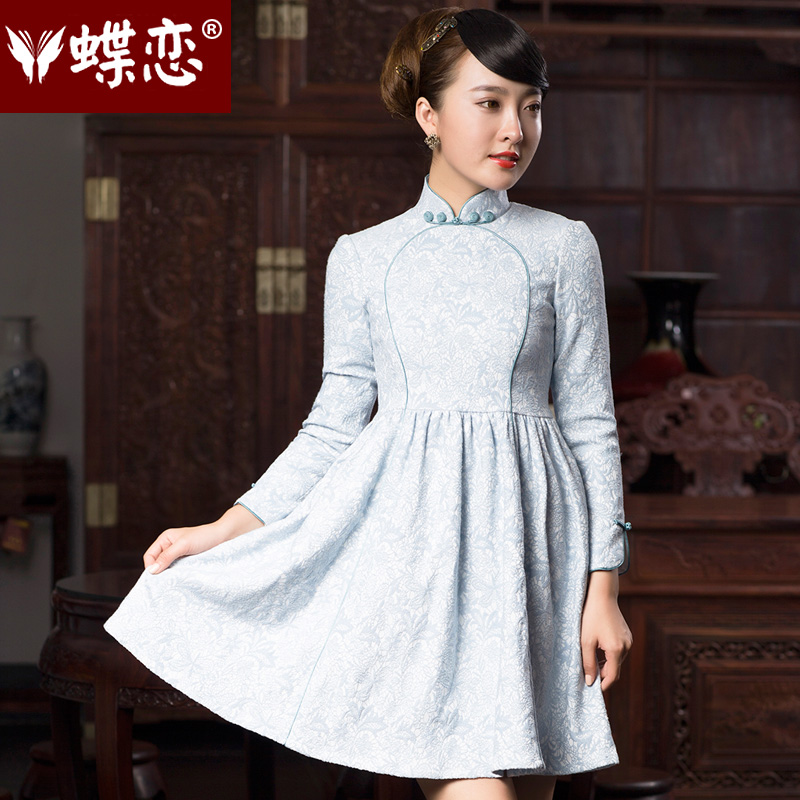 Butterfly Lovers 2015 Autumn new bridesmaid dresses, Stylish retro dresses skirts qipao improved temperament short of Qipao 48019 light blue燣