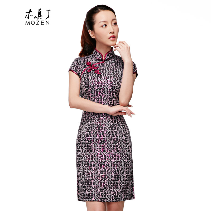 The spring of 2015 really   New Chinese classic collar short-sleeved cheongsam dress girl NO.22184 visitor燲xl_b_ 01 Black