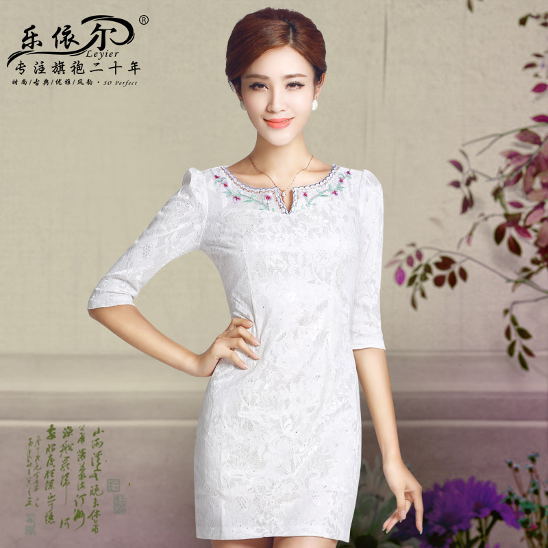 In accordance with the American's new cheongsam dress in the autumn of 2015, the women's day-to-day short-sleeved embroidery cheongsam dress Ladies Classic White燤