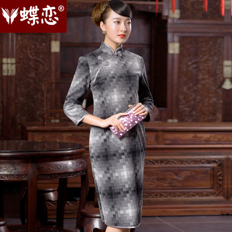 Butterfly Lovers 2015 Autumn new stylish 7 to the improvement of the Cuff cheongsam dress retro long Tang Gown cheongsam dress 49054 gray mosaic?M