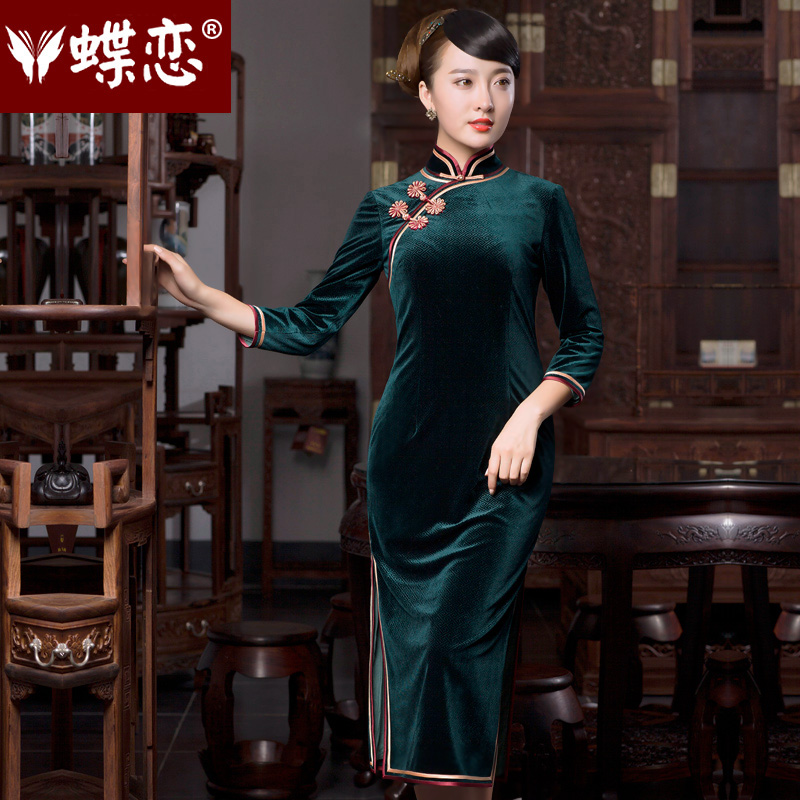 Butterfly Lovers 2015 Autumn new national retro look, qipao dresses daily fashion improved cheongsam dress 49059 MOSS? M