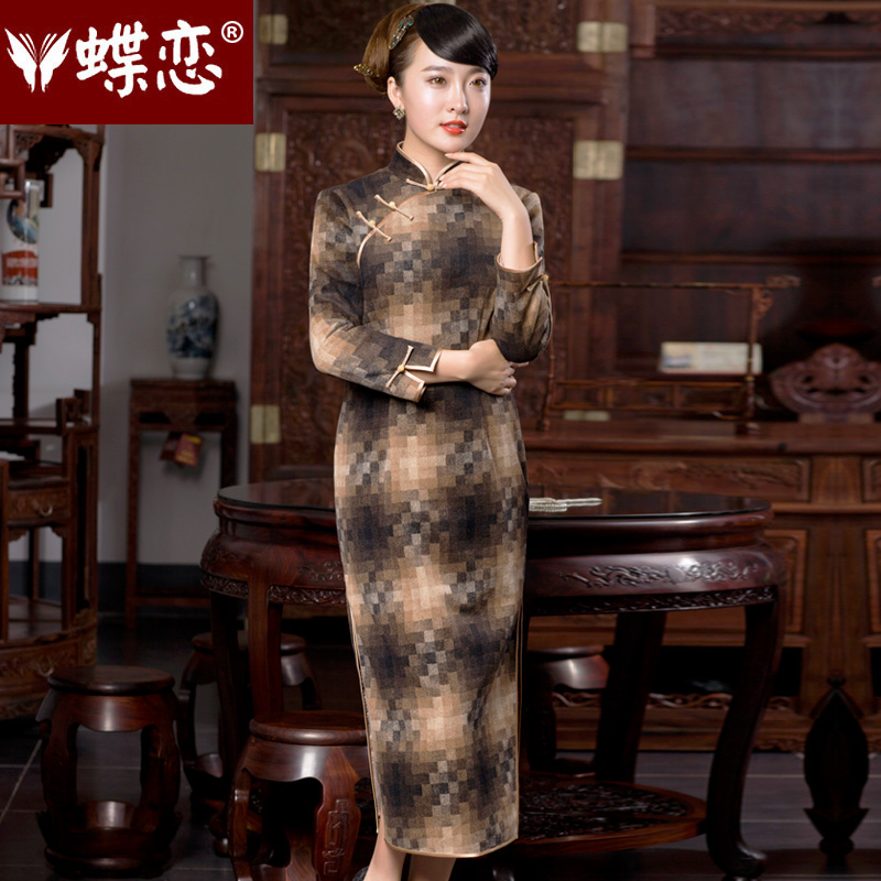 Butterfly Lovers 2015 Autumn new retro look like replacing cheongsam dress daily fashion improved long skirt 49060 and color qipao mosaic?S