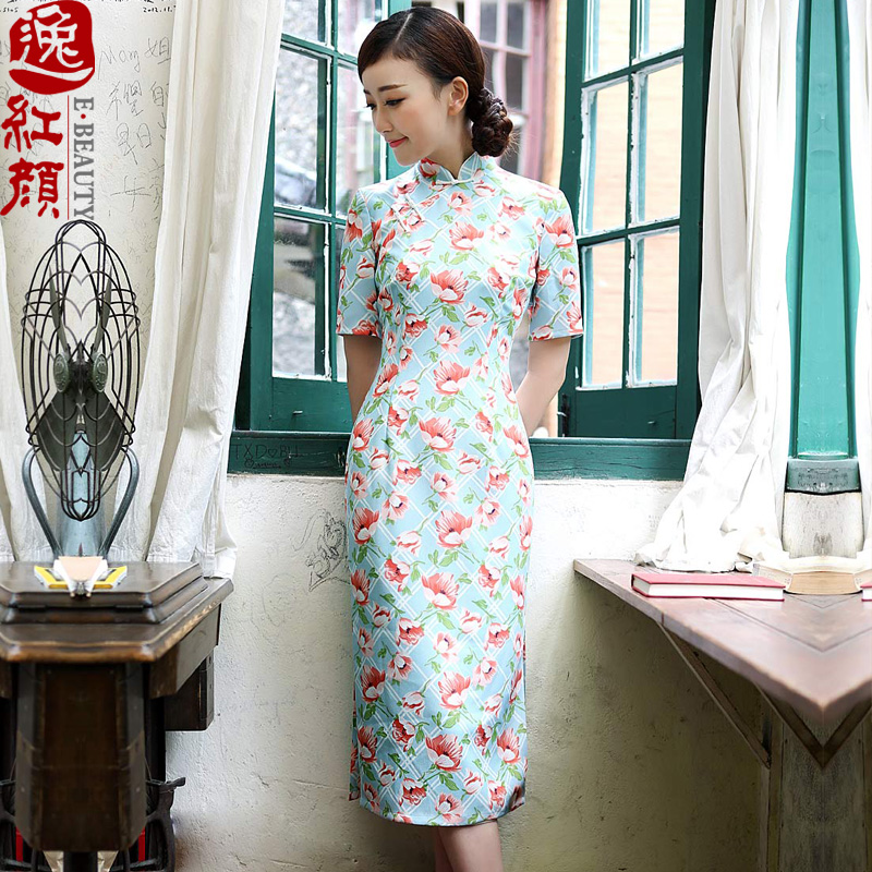 A Pinwheel Without Wind autumn leaf, stamp duty Yat Emulation Ma cheongsam dress with improved stylish slimming autumn cheongsam dress retro green L