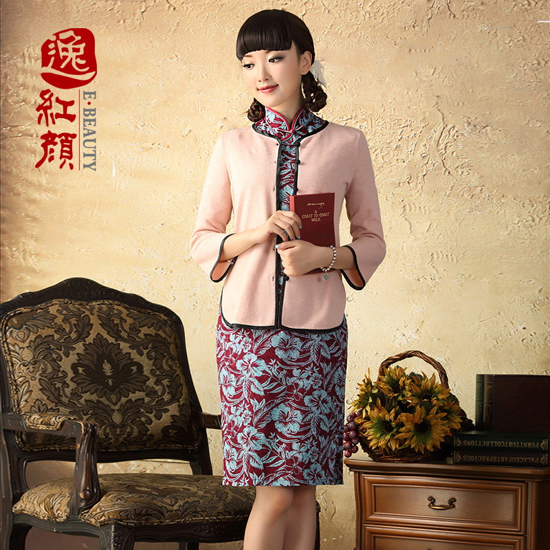 A Pinwheel Without Wind Yat masae linen cheongsam dress autumn 2015 replacing improved fashion, long cotton linen cheongsam dress RED?M
