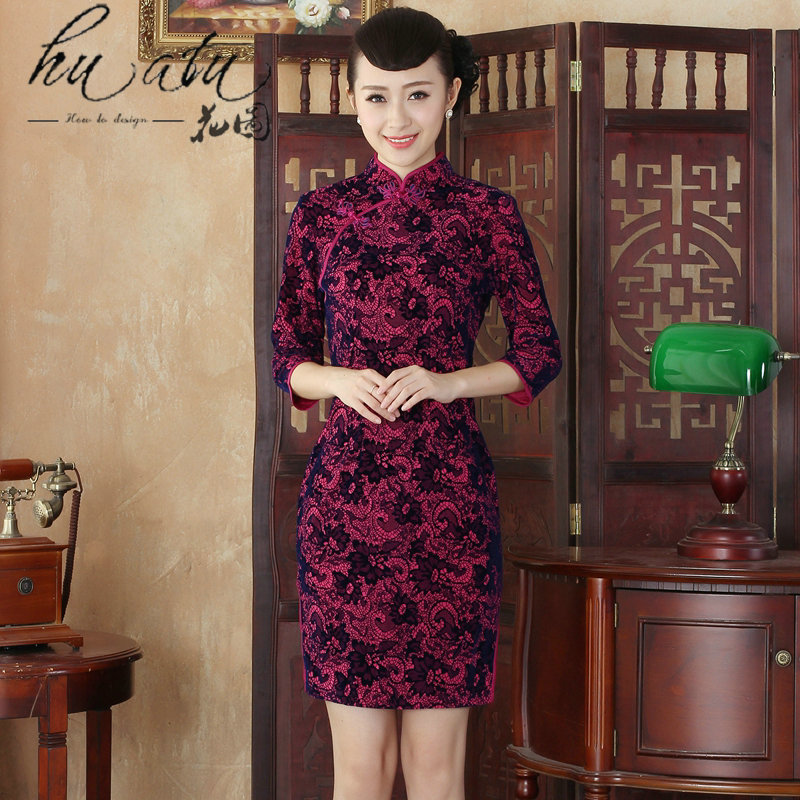Floral autumn and winter new daily Noble Lady collar velvet cheongsam retro improved long-sleeved cheongsam dress in stylish?02 2XL