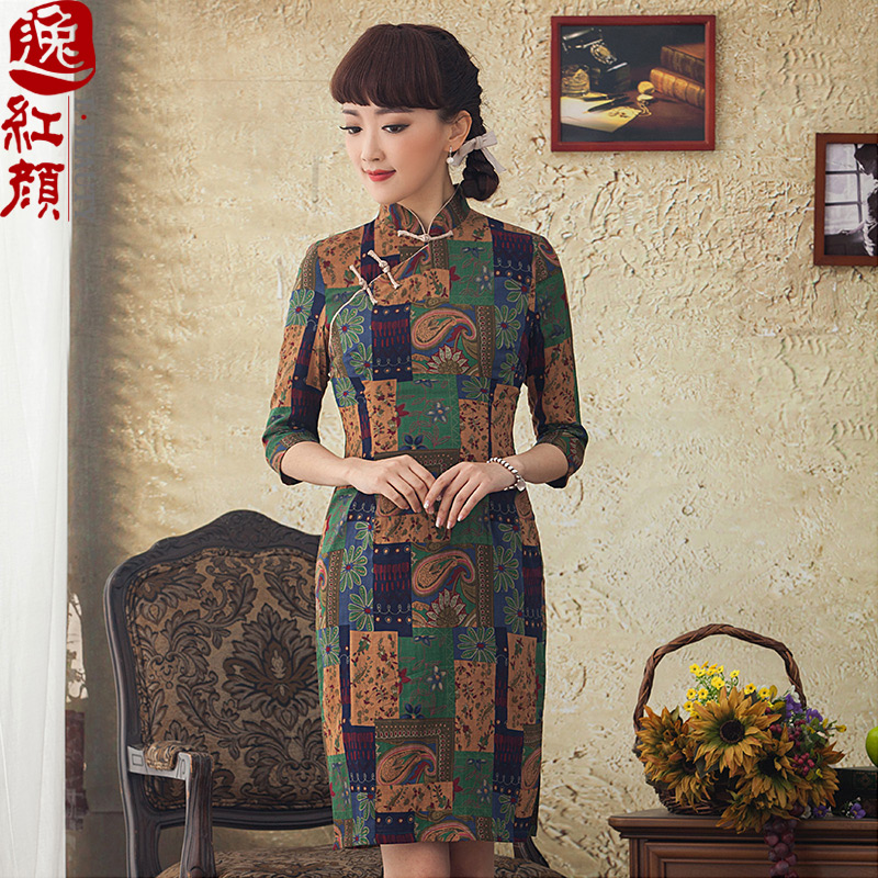 A Pinwheel Without Wind Yat Palace. Replace spring and autumn skirt qipao improved stylish Sau San cotton linen cheongsam dress suit?XL