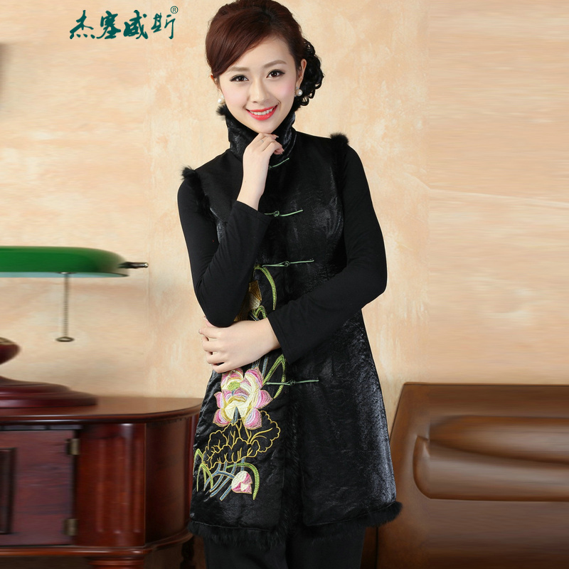 Jie in the autumn and winter new manually Tang dynasty collar detained robe embroidered rabbit hair cotton jacket燜0009燽lack燤