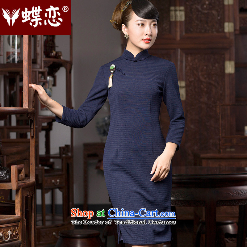 The Butterfly Lovers autumn 2015 New Stylish retro elegant Chinese temperament improved cheongsam dress?49065?Navy?XXXL