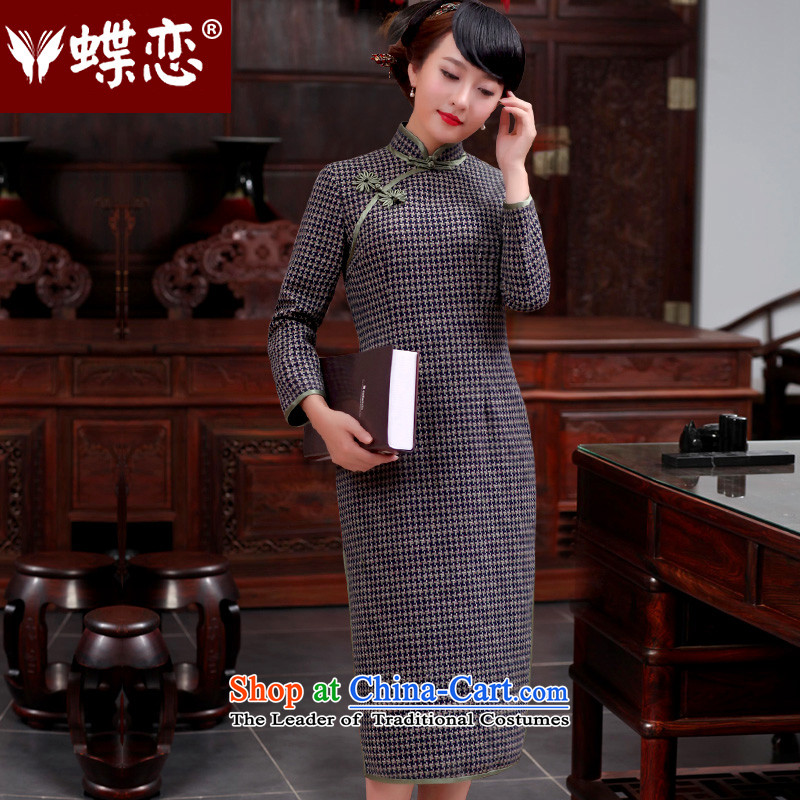 The Butterfly Lovers autumn 2015 new stylish improved temperament cheongsam dress daily retro long cheongsam dress 49066 chidori grid燲XL