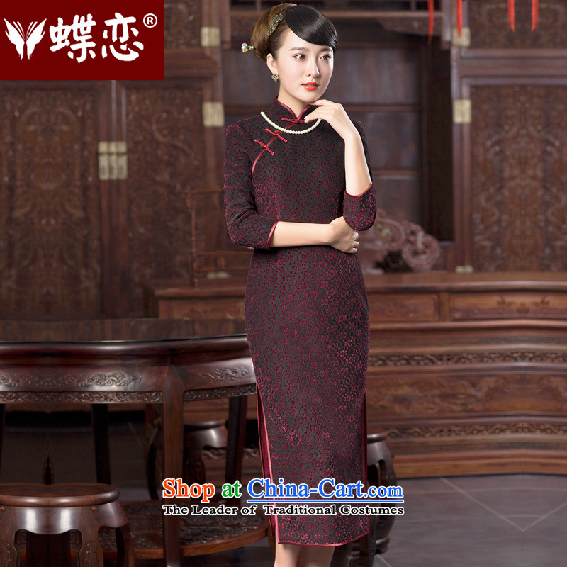 Butterfly Lovers 2015 Autumn New, lace scouring pads composite cheongsam dress improved long robe skirt fashion as the wall of the 49069燲L