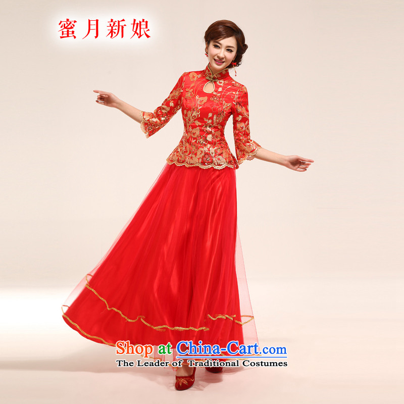 2015 new honeymoon bride long qipao bride improved stylish Tang red bows services red燬