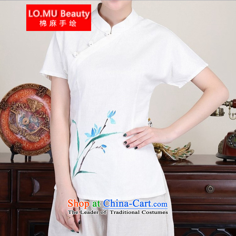 The Autumn LO.MU beauty cotton linen hand-painted orchid t-shirt with white clip short-sleeved cotton linen Tang dynasty China wind White M Code _Code_.