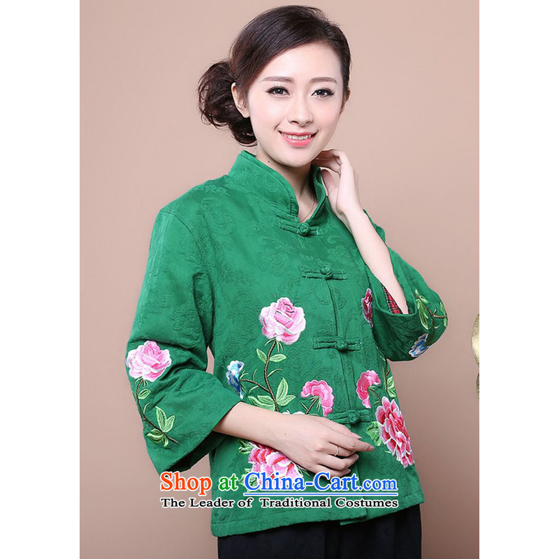 The 2014 autumn forest narcissus loaded on a new cotton jacquard Tang Dynasty Mudan in older women's embroidery mother blouses jacket Fgr-a981 green燣