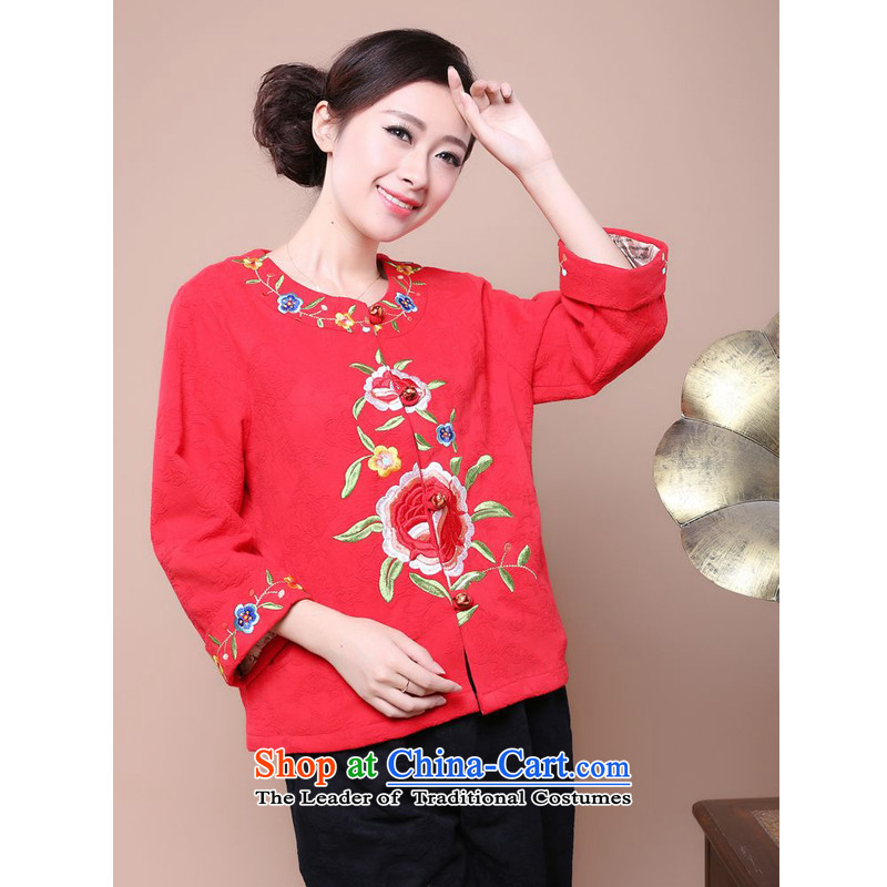 The 2014 autumn forest narcissus install new liberal larger cotton embroidery Tang dynasty characteristics of national long-sleeved T-shirt with round collar wind Fgr-a211 red燲L