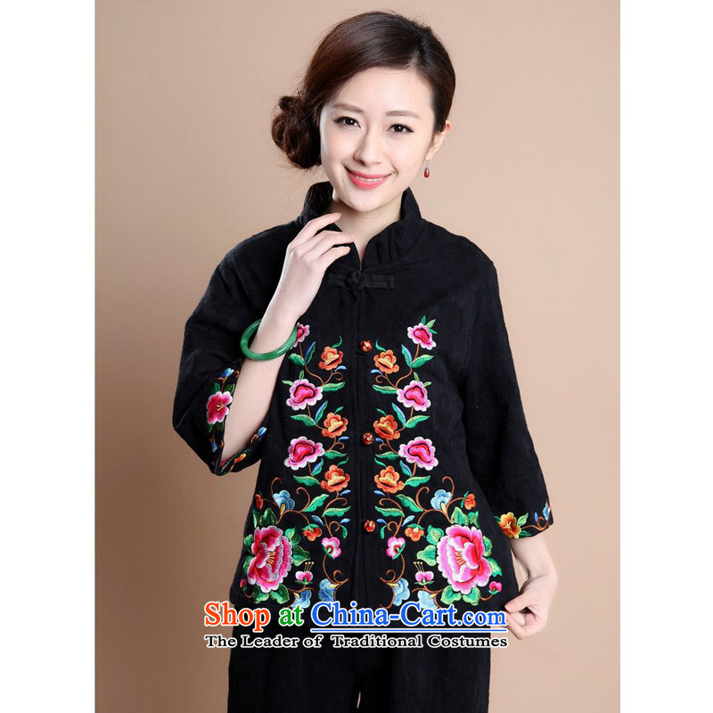 The 2014 autumn forest narcissus install new full Mudan cotton jacquard Tang Dynasty Large relaxd mother load characteristics of national Wind Jacket coat Fgr-a183 black L