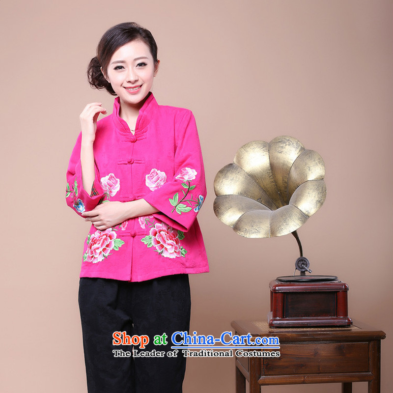 Ms. Tang dynasty season arrogance autumn 2014 in New replacing older mother Sau San Tong Chinese Jacket coat Women's clothes in red燲L
