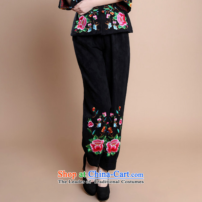 � The 2014 autumn and winter season arrogance new elderly women's long-sleeved ethnic Mother Women's clothes trousers relaxd stylish embroidery cotton Large Tang-pack Black燲XL