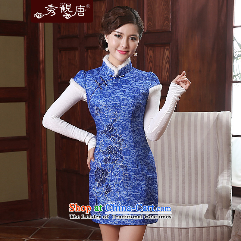 [Sau Kwun tong] and smoke 2014 Fall/Winter Collections folder new cotton cheongsam dress chinese women QD4914 improved retro blue?S