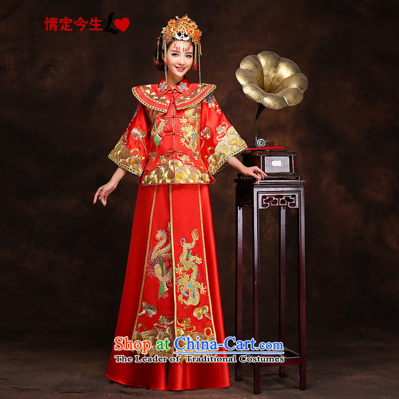 Maximum number of this life-handicraft embroidery Wo Service_Chinese Traditional dress wedding dress bows wedding gown services retro qipao Bong-sam Hui +?XXL?2 feet waistline clothing 3
