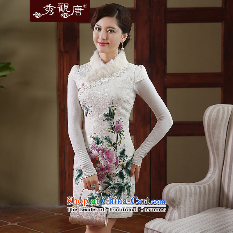 -Sau Kwun Tong- land butterfly winter rabbit hair clip cotton qipao聽2014 autumn and winter improved stylish dresses QD4915 white聽S